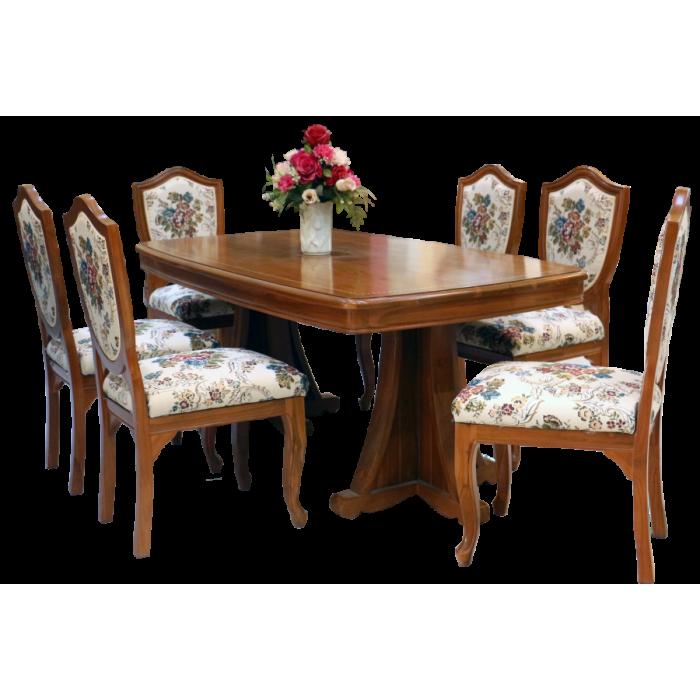 ชุดโต๊ะอาหารรูปเรือ 6 ที่นั่ง+เก้าอี้ ลูกข่าง