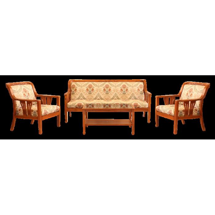 ชุดรับแขกไม้สักผีเสื้อแกะลาย พร้อมโต๊ะกลางกระจก  5 ที่นั่ง